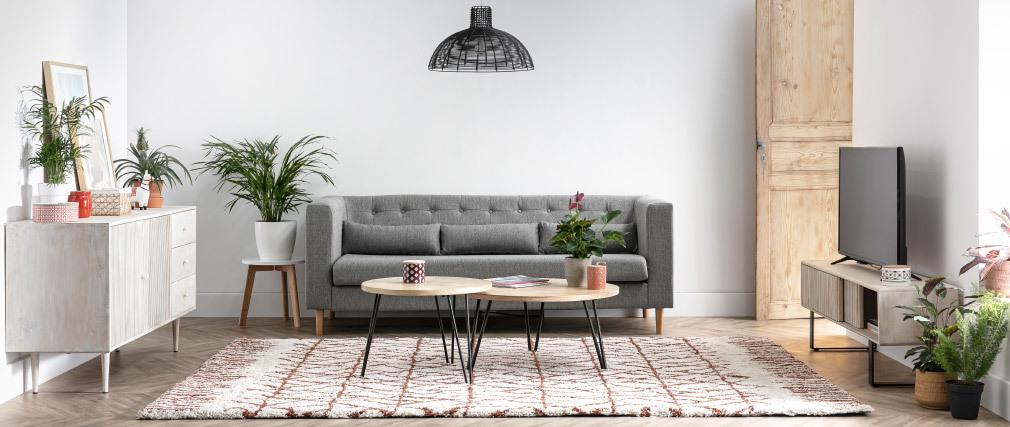 Divano design in tessuto grigio chiaro 3 posti FRANN