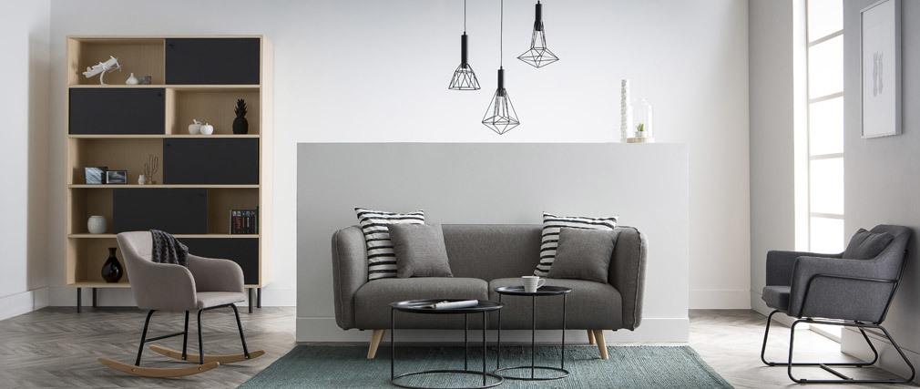 Divano design in tessuto Grigio chiaro 3 posti MOONLIGHT