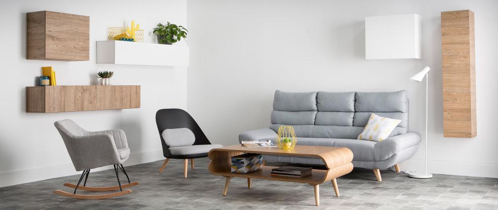 Divano design scandinavo 3 posti grigio NORDIK