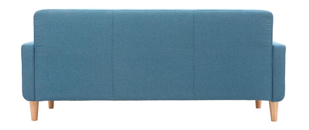 Divano design scandinavo 3 posti tessuto blu anatra LUNA
