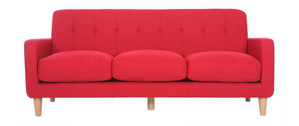 Divano design scandinavo 3 posti tessuto rosso LUNA