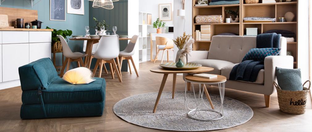Divano design scandinavo a 2 posti tessuto grigio chiaro LUNA