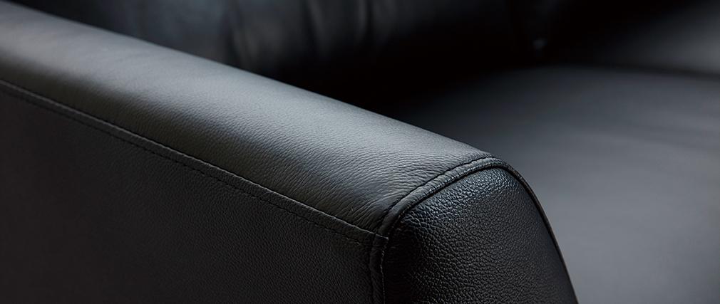 Divano di pelle nera 3 posti JOPLIN - pelle di bufalo