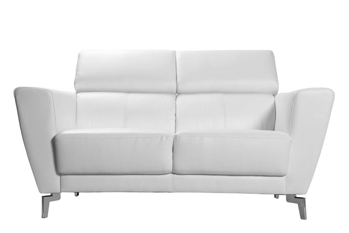 Divano in pelle design 2 posti con poggiatesta relax for Divano pelle bianco