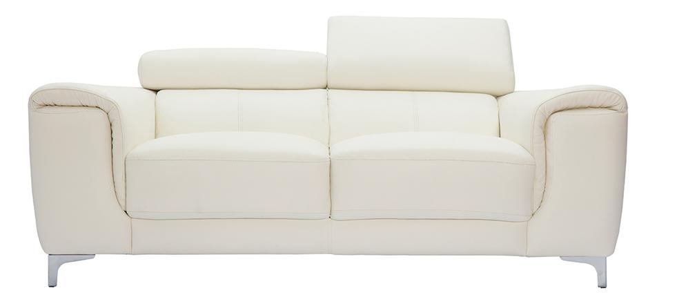 Divano in pelle design 2 posti con poggiatesta relax bianco NEVADA