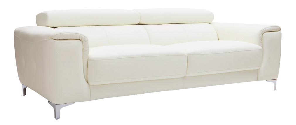 Divano in pelle design 3 posti con poggiatesta relax bianco NEVADA