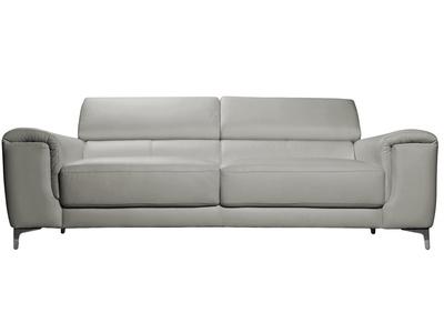 Divano in pelle design 3 posti con poggiatesta relax grigio NEVADA