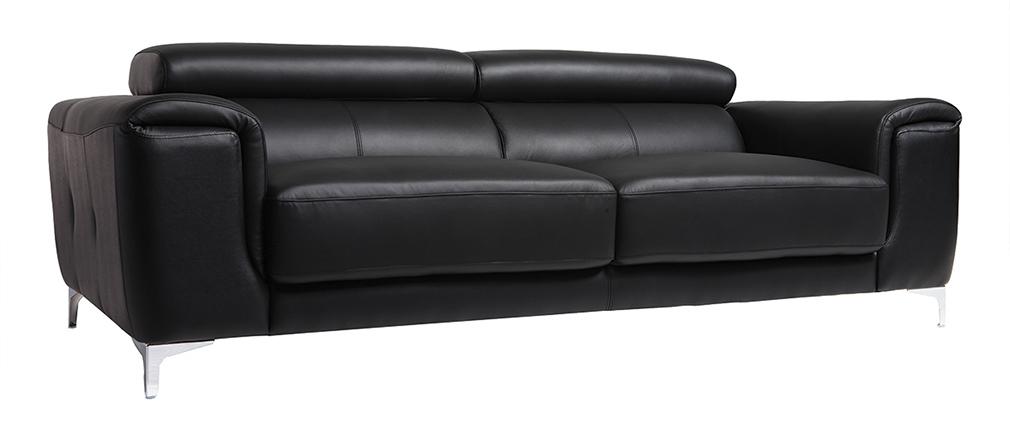 Divano in pelle design 3 posti con poggiatesta relax nero NEVADA
