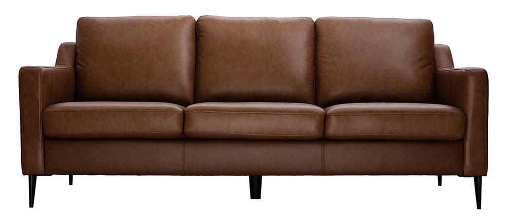 Divano in pelle design 3 posti marrone OXMO - pelle di bufalo