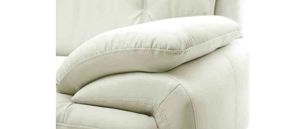 Divano in pelle design bianco 3 posti tamara   miliboo