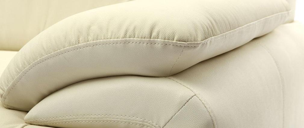 Divano in pelle design colore crema 3 posti TAMARA