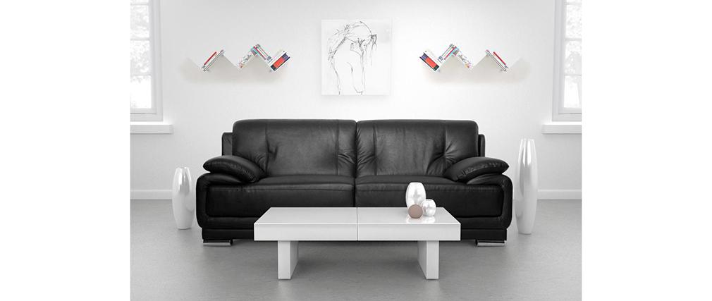 Divano in pelle design nero 3 posti TAMARA