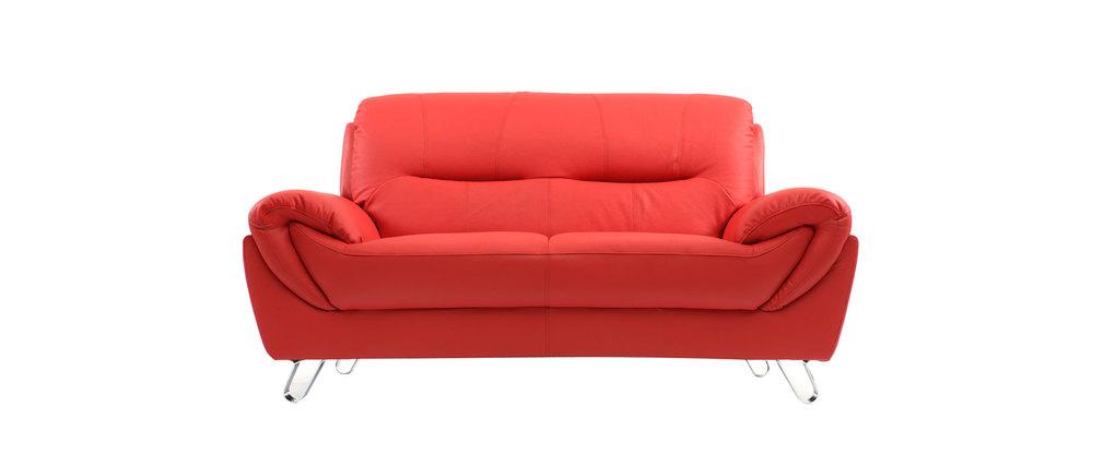 Divano in pelle design rosso 2 posti KANSAS - Miliboo