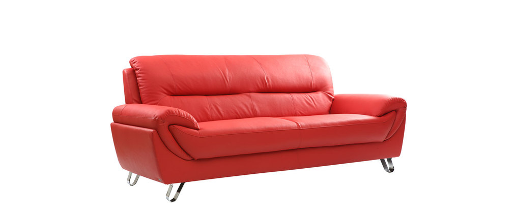 Divano in pelle design rosso 3 posti kansas miliboo - Divano in pelle rosso ...