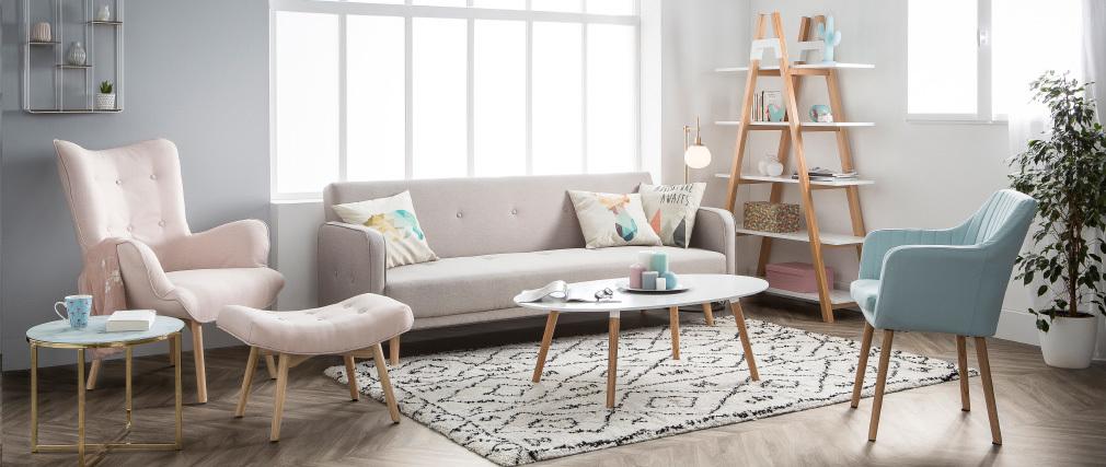 Divano letto 3 posti design scandinavo color naturale ULLA