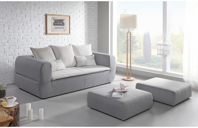 Divano letto design grigio con 2 pouf paradise miliboo for Divano con pouf
