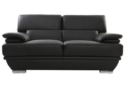 Divano nero in pelle design 2 posti con poggiatesta reclinabile EWING