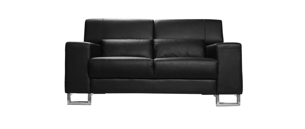 Divano nero in pelle design 2 posti con poggiatesta relax arizona miliboo - Divano nero pelle ...