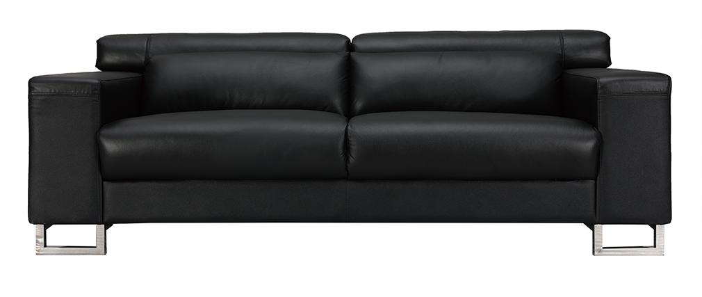 Divano nero in pelle design 3 posti con poggiatesta relax ARIZONA