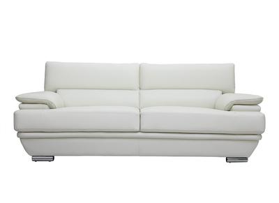 Divano pelle design 3 posti con poggiatesta reclinabile bianco EWING