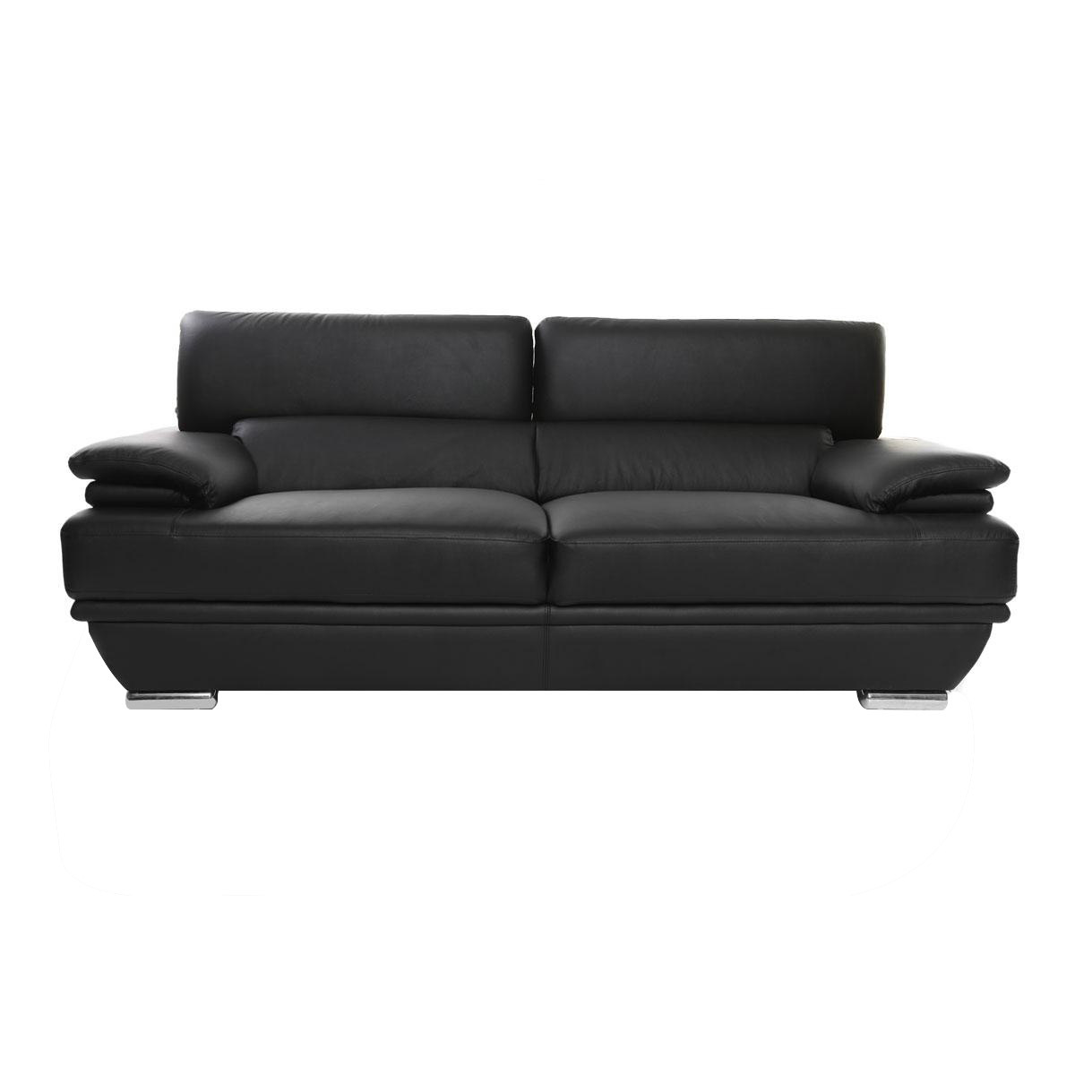 Divano pelle design 3 posti con poggiatesta reclinabile nero EWING