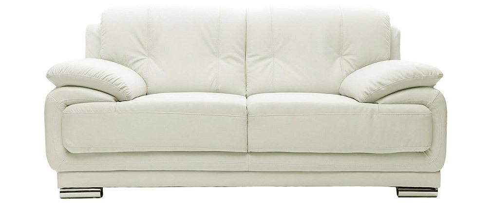 Divano pelle design bianco 2 posti tamara   miliboo