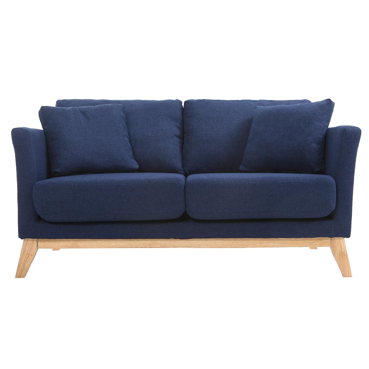 Divano scandinavo 2 posti blu scuro e piedi in legno chiaro OSLO
