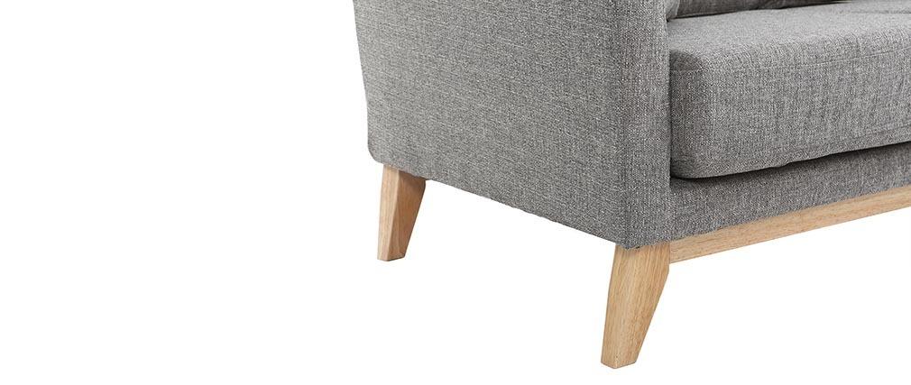 Divano scandinavo 2 posti grigio chiaro e piedi in legno chiaro OSLO