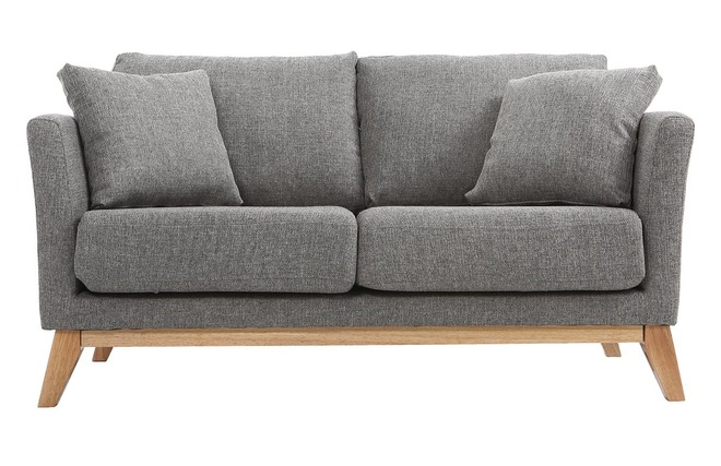 Divano scandinavo posti grigio chiaro e piedi in legno chiaro