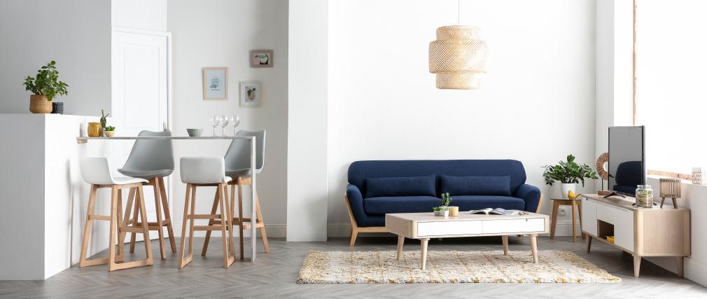 Divano scandinavo 3 posti blu marino piedi legno YOKO