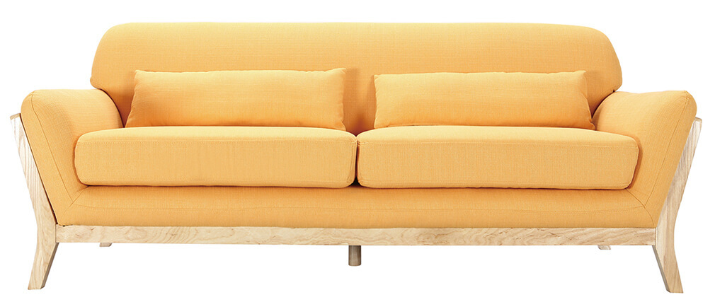 Divano scandinavo 3 posti giallo piedi legno YOKO