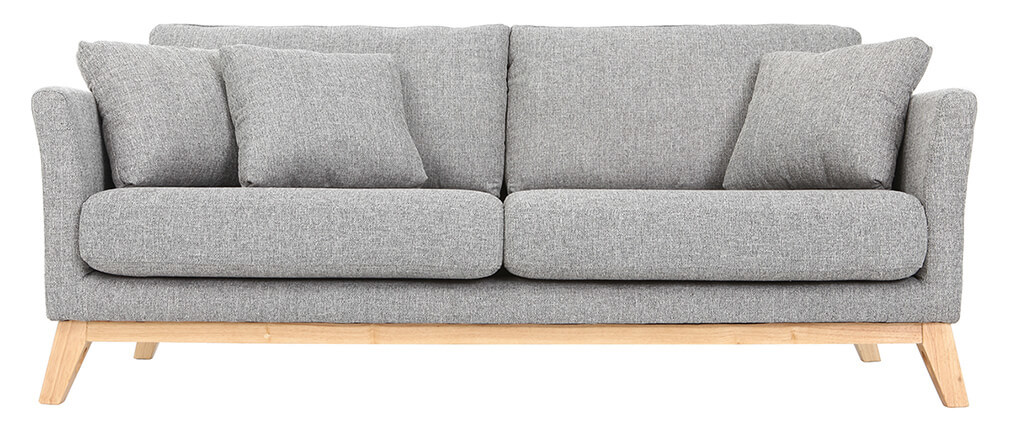 Divano scandinavo 3 posti grigio chiaro piedi legno OSLO