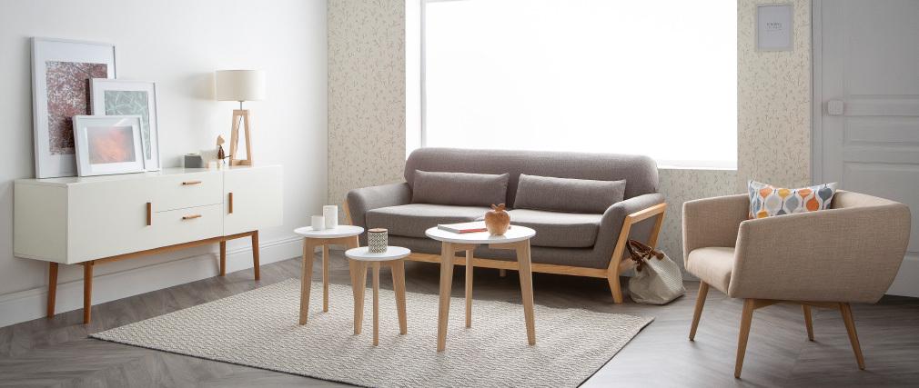Divano scandinavo 3 posti grigio piedi legno YOKO