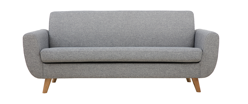 Divano scandinavo 3 posti in grigio chiaro e legno PURE
