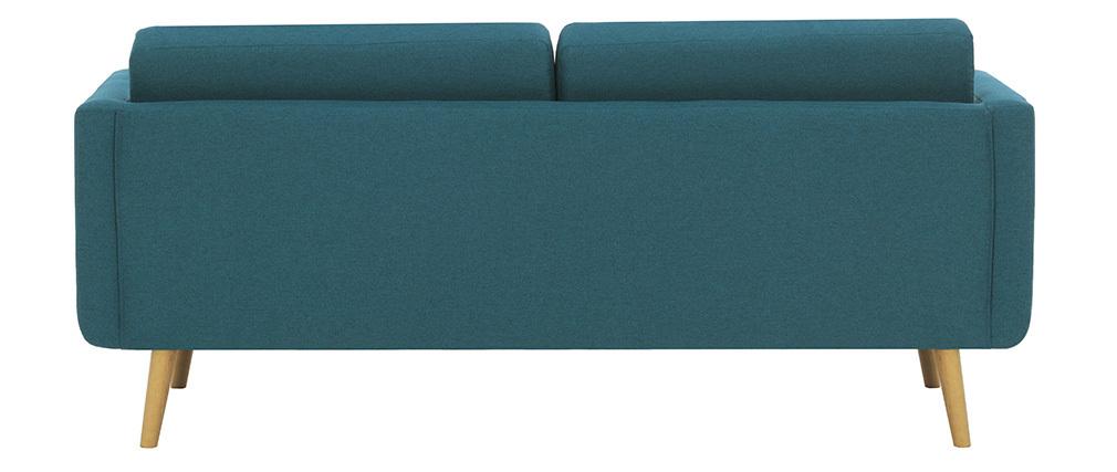 Divano scandinavo 3 posti in tessuto blu anatra e legno  ELFE