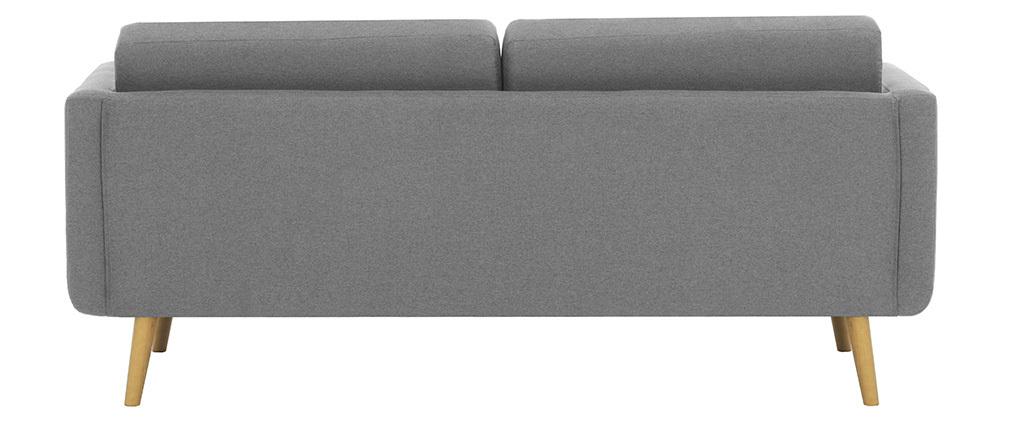 Divano scandinavo 3 posti in tessuto grigio chiaro e legno  ELFE