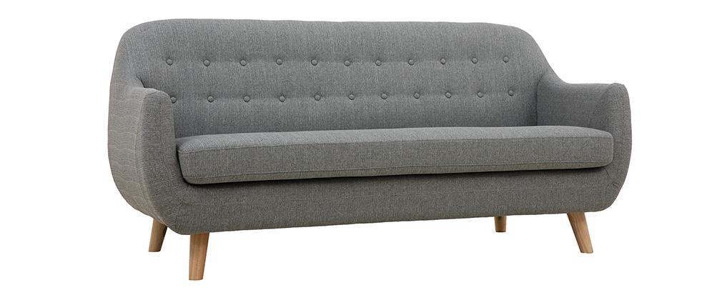 Divano scandinavo 3 posti sfoderabile grigio chiaro e legno YNOK