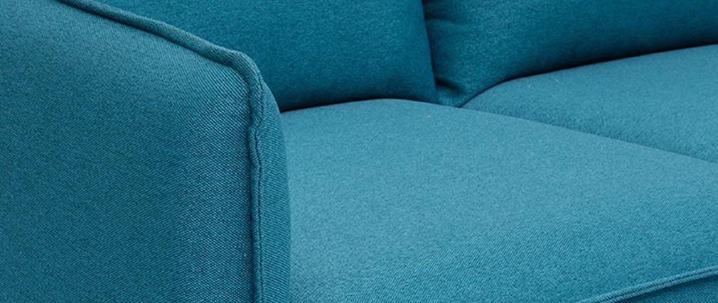 Divano scandinavo 3 posto in tessuto blu anatra HOLMS