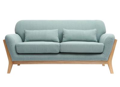 Divano scandinavo a 2 posti, colore: Blu laguna, piedi in legno, modello: YOKO