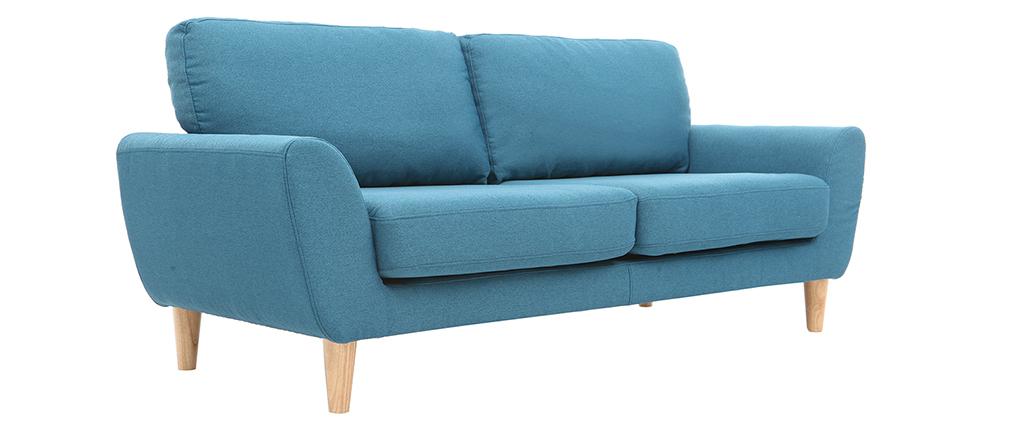Divano scandinavo in tessuto Blu anatra 3 posti ALICE