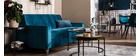 Divano trasformabile 3 posti in velluto blu pavone CIGALE