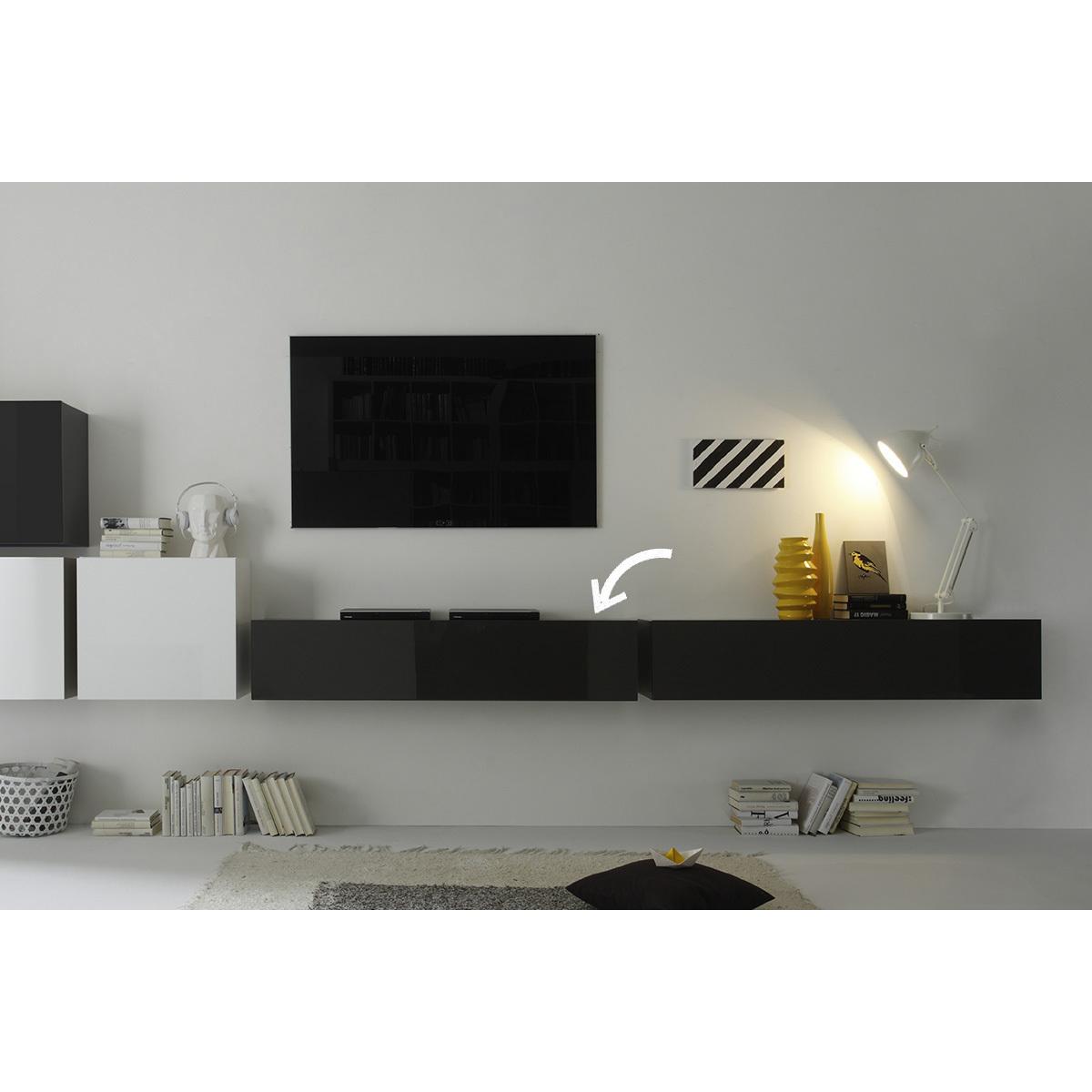 Elemento da parete TV grigio antracite lucido orizzontale COLORED V2