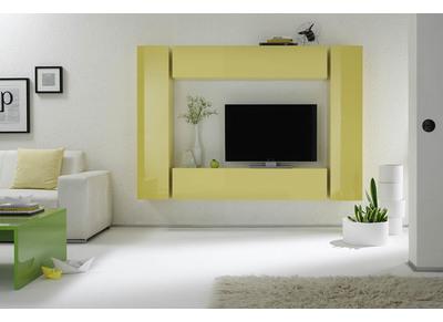 Elemento murale TV COLORED orizzontale o verticale laccato Giallo