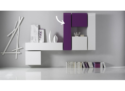 Elemento murale TV COLORED orizzontale o verticale laccato Lilla