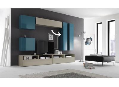 Elemento murale TV COLORED orizzontale o verticale laccato Turchese