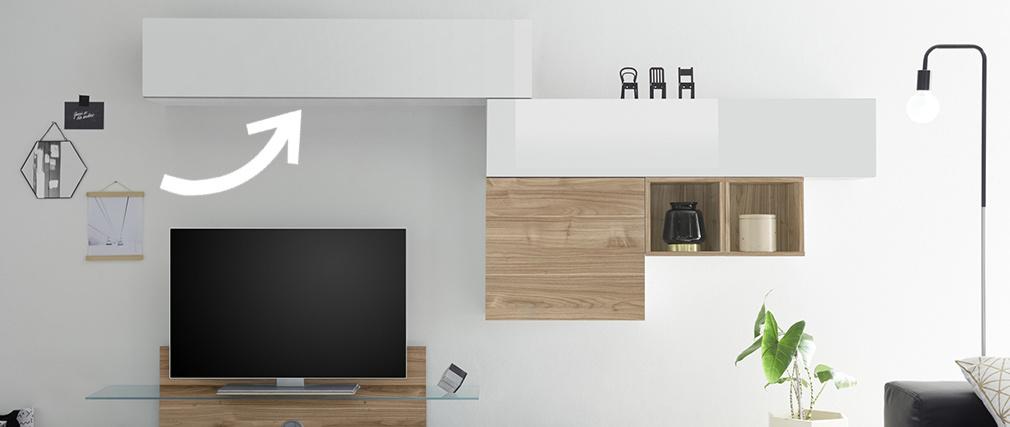 Elemento murale TV orizzontale laccanto bianco brillante ETERNEL