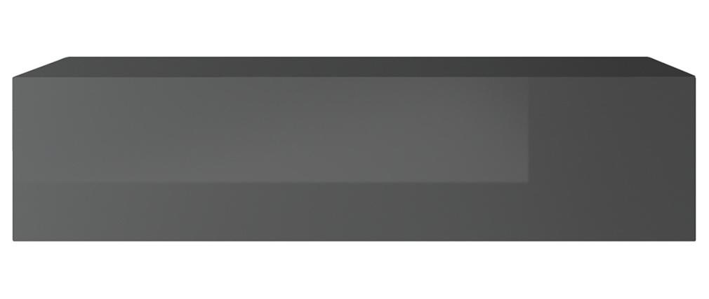 Elemento murale TV orizzontale laccato grigio brillante ETERNEL