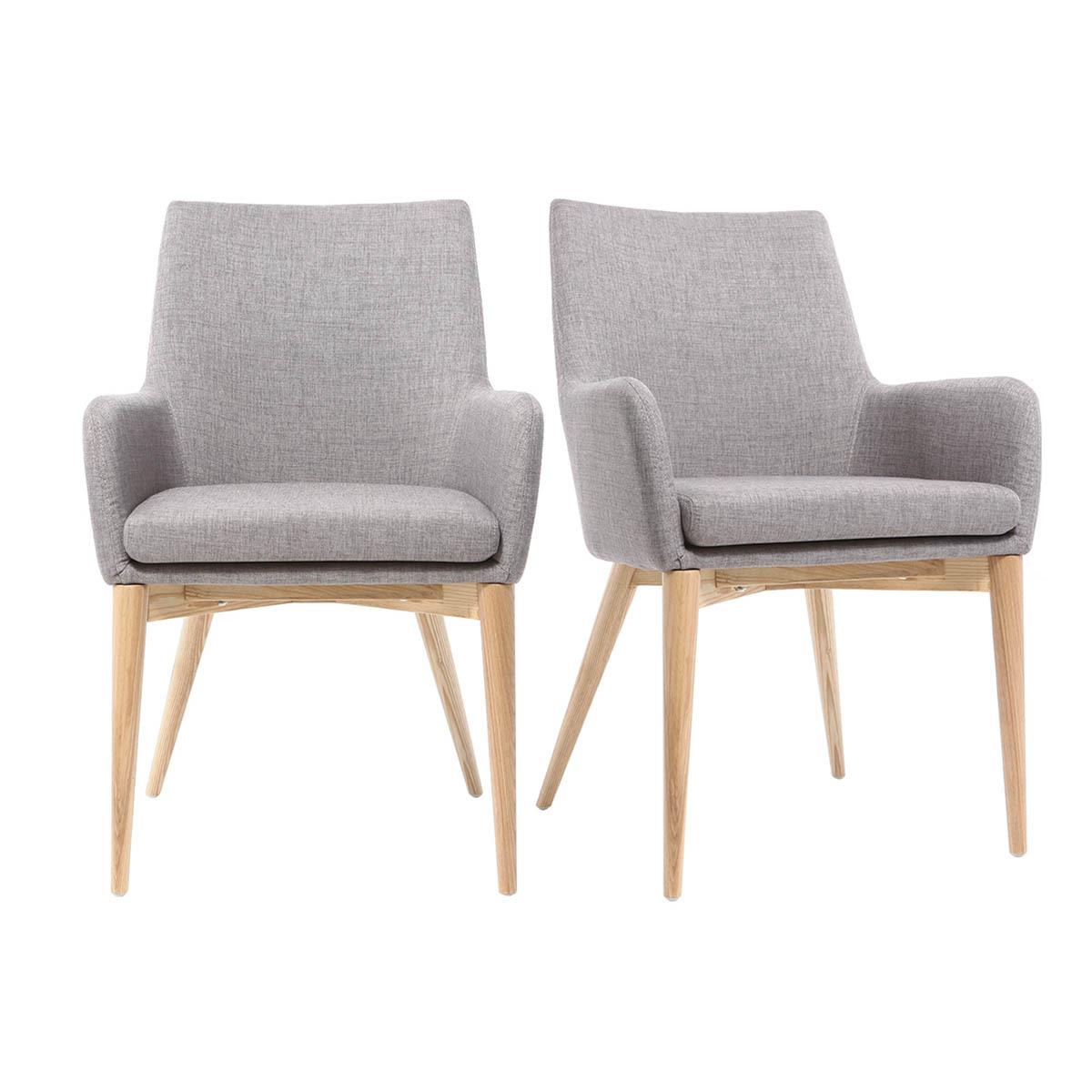 Gruppo di 2 poltrona design legno chiaro e tessuto grigio chiaro SHANA