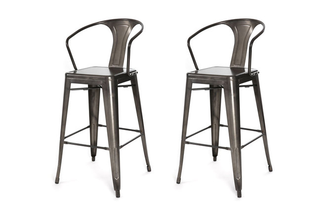 Gruppo di 2 sedie alte design stile industriale metallo for Sedie industrial style