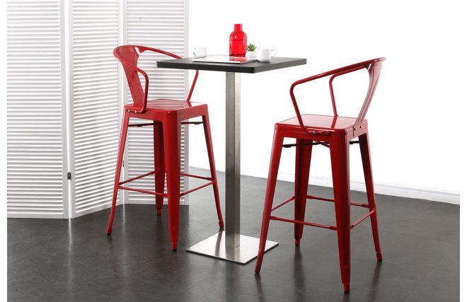 gruppo di 2 sedie alte design stile industriale metallo